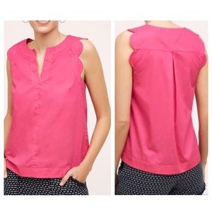 {ANTHRO} Maeve hot pink shirt sleeve top